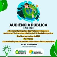 Audiência  Pública vai debater sobre o Leilão de Eficiência Energética de Roraima