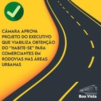 """Câmara aprova projeto do Executivo que viabiliza obtenção do """"Habite-se"""" para comerciantes em rodovias nas áreas urbanas"""