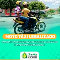 Câmara regulamente  serviço de Mototáxi